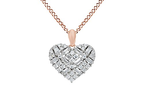 (AFFY Round & Baguette CZ Heart Pendant W/Chain in 14K Rose Gold Over Sterling Silver)