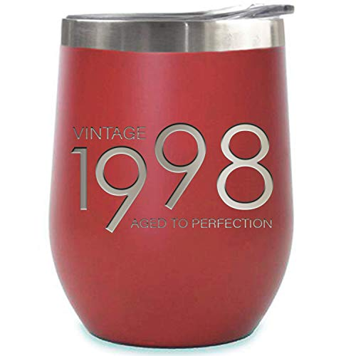 1998 21st Birthday Gifts for Women and Men Red 12 oz Insulated Stainless Steel Tumbler | 21 Year Old Presents | Mom Dad Wife Husband Present | Party Decorations Supplies Anniversary Tumblers Gift th