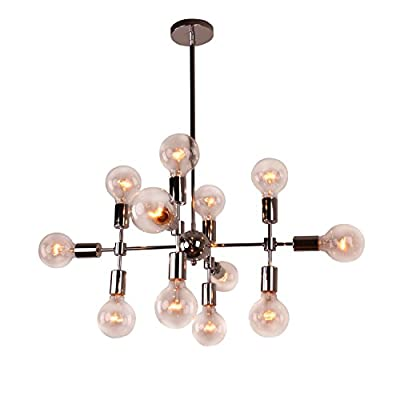 Unitary Brand Modern Silver Metal Geometric Design Chandelier with 12 E26 Bulb Sockets 480W Chrome Finish
