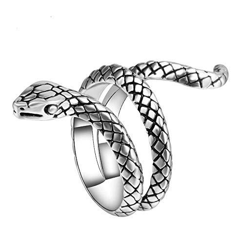 JczR.Y Retro Punk Snake Rings Vintage Gothic Men's Cobra Snake Animal Finger Rings Statement Jewelry Gift(D:Silver)