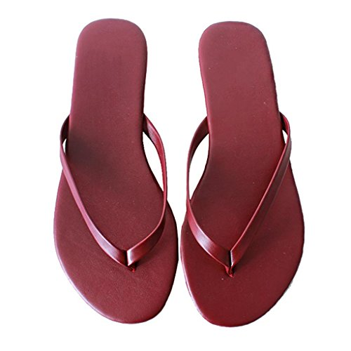 De Playa Red Tacón Sandalias 40 Color US Leisure Slip para Chancletas Thongs Planas Tamaño De On Oxford Zapatillas 8 Verano Clip En Unisex Brown Toe Zapatos EU PU vRWSSPp