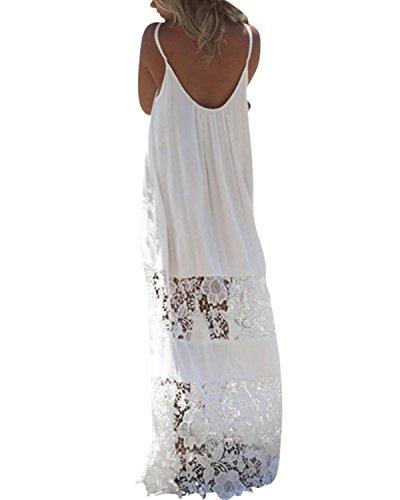ZANZEA Ladies Strapless Sleeveless Vest Lace Crochet Beach Maxi Long Dress White 16
