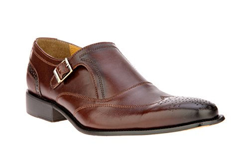 Mens Leather Double Buckle Wing Tip Dress Shoe (7, - Double Wingtip
