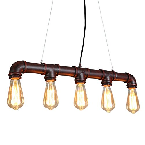 [ONEPRE Industrial Steampunk Ceiling Pendant Light Chandeliers with Vintage Edison Bulb, Retro Rustic Red Color, 5 Lights Metal Water Pipe Country Rustic Lamp Hanging] (Steampunk Decorations)