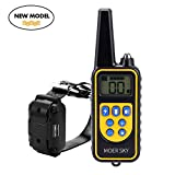#10: Moer Sky Dog Training Collar, Upgraded 100% Waterproof Rechargeable 875 Yards Remote Dog Shock Collar with LED Light/Beep/Vibration/Shock for Small Medium Large Dogs
