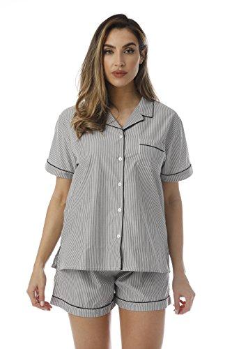 Cocoom Button Down Pajama Short Set,Black / White, 2X Plus
