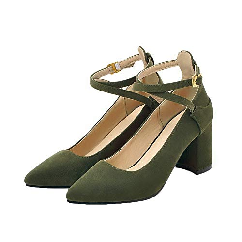 Agoolar flats Tacco Medio Verde Gmmdb008422 Puro Chiusa Ballet Punta Donna Fibbia Luccichio rXqzrS