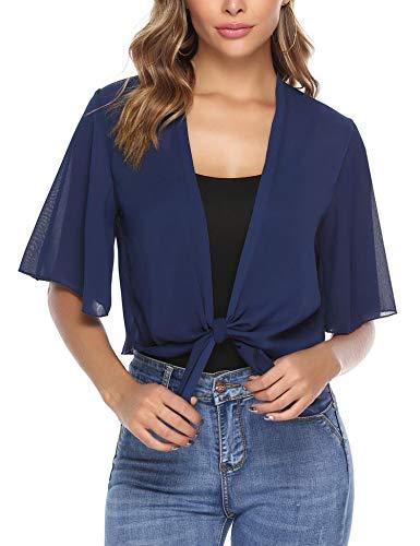 - iClosam Women Half Sleeve Tie Front Chiffon Bolero Shrugs Open Front Cardigan Navy