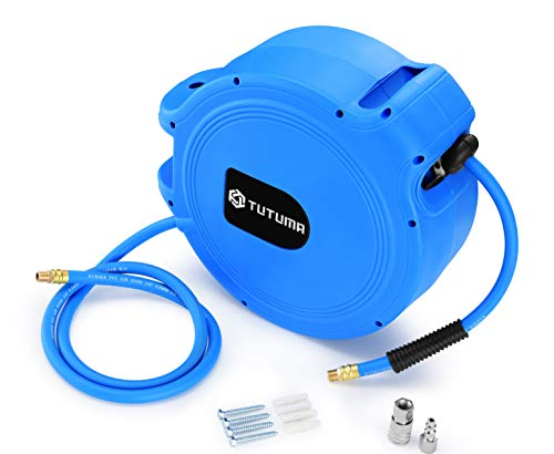Air Hose Reel Retractable by Spring Driven 50ft Rewind by 3/8' inch for Wall Mount Swivel Hose Reel for Air Compressor Hose with Heavy Duty and 350PSI High Pressure Lightweight ()