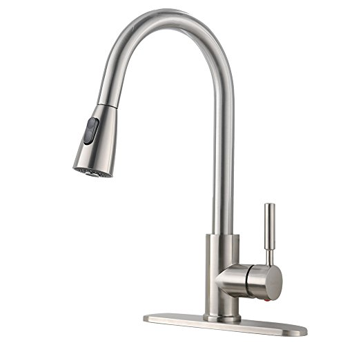 VESLA HOME Commercial High Arch Pull Down Sprayer Brushed Nickel Kitchen Sink Faucet, Swivel Single Lever Stainless Steel Kitchen Faucet With Deck ()