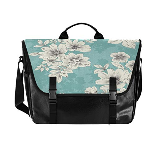 Light Blue Flower School Messenger Bag Canvas Laptop Crossbody Briefcase for Men Women College