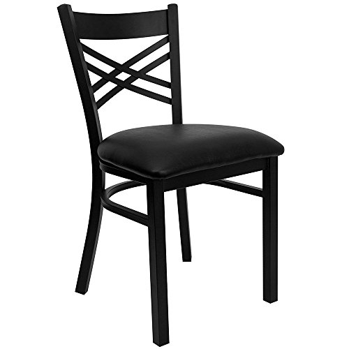 Jackson Cross Back Cafe Chair with Vinyl Seat Dimensions: 16.50