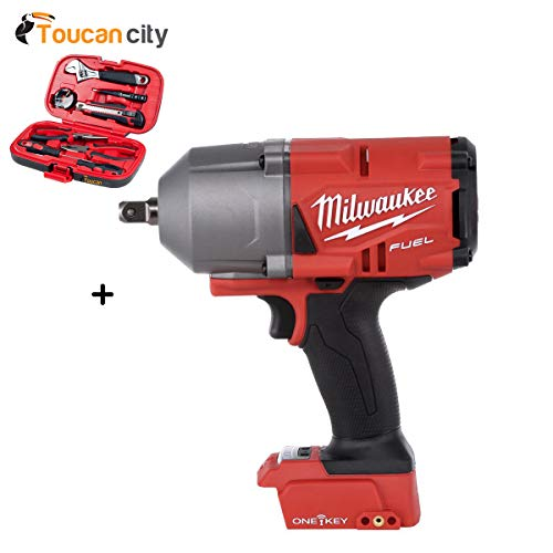 Price comparison product image Milwaukee M18 FUEL ONE-KEY 18-Volt Lithium-Ion Brushless Cordless 1 / 2 in. Impact Wrench w / Pin Detent (Tool-Only) 2862-20 and Toucan City Tool Kit (9-Piece)