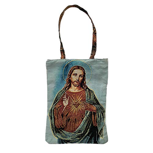 (Religious Inspirational Reusable Cotton Tapestry Tote Bag with Canvas of Sacred Hearts of Jesus Christ and Mary)