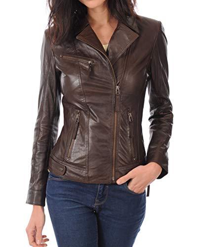 LEATHER FARM Women's Lambskin Leather Bomber Biker Jacket (Large, Brown)