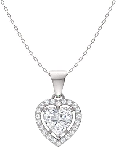 Diamondere Natural and Certified White Topaz and Diamond Heart Petite Necklace in 14k White Gold | 0.51 Carat Pendant with Chain