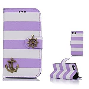 LCJ New Enjoy Pirate Boat Design PU Wallet Leather Case for iPhone 5/5S(Assorted Colors) , Black