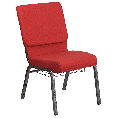 "18.5""W Church Chair in Red Fabric with Cup Book Rack – Silver Vein Frame"
