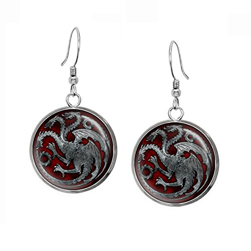 Game of Thrones Targaryen Earrings, khaleesi Necklace, Daenerys Jewelry, Geek Pendant, Geeky Girl Gift, Nerd Present, Nerdy Birthday Gifts (Thrones Earrings)