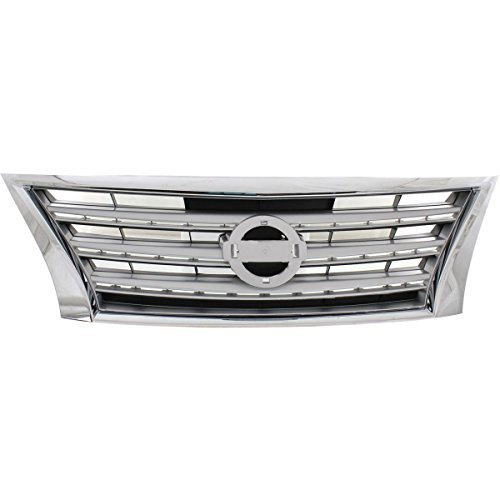 - Elite7 OE Grille Grill Assembly NI1200252 For Nissan Sentra CHROME Shell with SILVER Insert