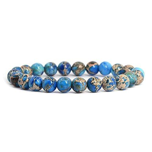 Genuine Imperial Blue Jasper Stone Bead Stretchy Elastic Bracelet, Earth Healing, 8mm, Unisex, for Friendship, Couples, Teens, by Big Cat (Jasper Cat)