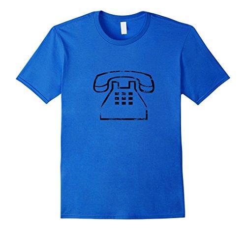 Mens Vintage Telephone t-shirt Distressed Retro Icon 2XL Royal Blue