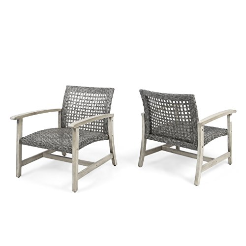 Great Deal Furniture Viola Outdoor Wood and Wicker Club Chairs (Set of 2), Gray Finish and Mixed Black ()