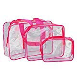 3Pcs/set Kashyk Cosmetic Bag,Different Size Stylish Clear Waterproof PouchBag Makeup Brush Storage Box Bag Organiser Bath Supplies Bag Foldable Stationary Container Travel for Women Girls (Hot Pink)