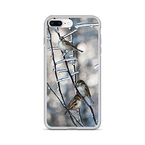 iPhone 7 Plus/8 Plus Case Anti-Scratch Creature Animal Transparent Cases Cover Ice Branch Animals Fauna Crystal Clear