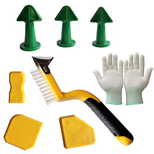 Caulk Nozzle Applicator Plus Scrapers Set, 8 piece set Rubber Sealant Tool Kit for Fill in Cracks & Remove Excess Kitchen Bathroom Window Excess Filler