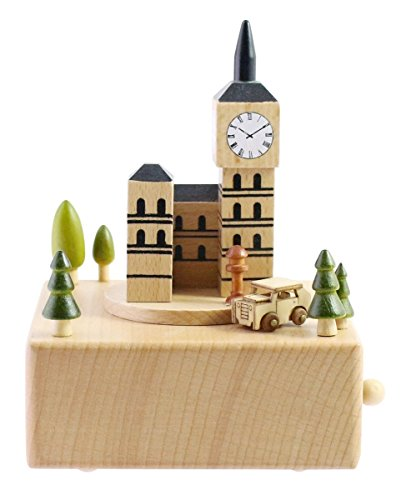 Light Box London (Cute Quality Made Wooden Musical Box Featuring London Big Ben With Small, Moving Magnetic Car   Plays