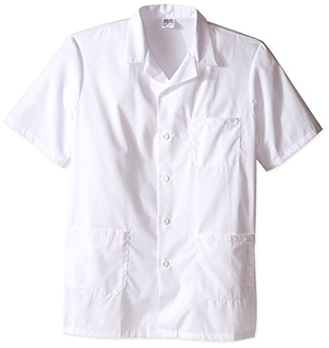 - Worklon 3409 Polyester/Cotton Unisex Short Sleeve Pharmacy Lab Coat with Button Closure, X-Large, White