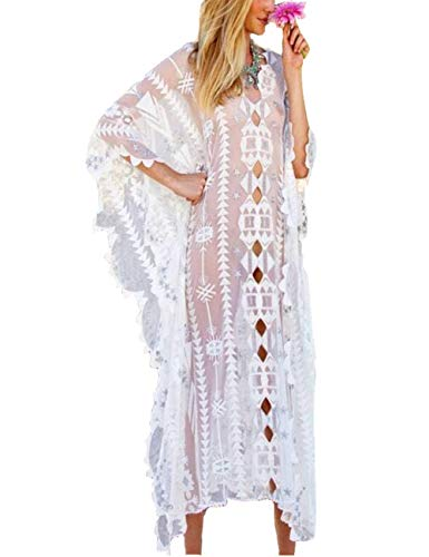 (Women Oversize Lace Cover Up and Long Loose Kaftan Dress(Lace White, One Size))
