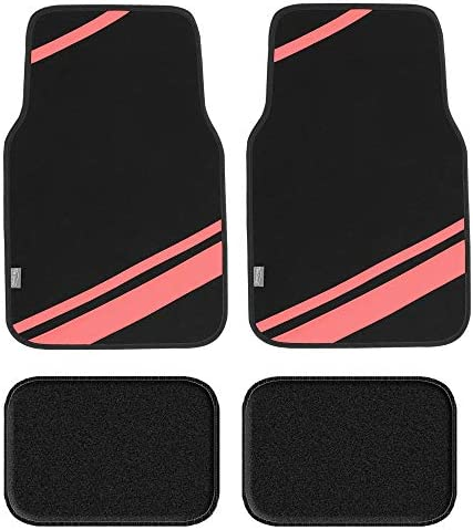 FH Group F14501PINK Universal Fit Carpet Floor Mats Full Set (with Faux Leather for Cars, Coupes, Small SUVs), Pink