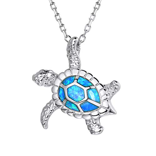 925 Sterling Silver Sea Turtle Pendant Necklaces For Women Cubic Zirconia Opal Stone Ocean Turtle Jewelry Gift for Her ()