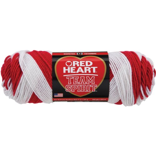 RED HEART Team Spirit Yarn, Red/White