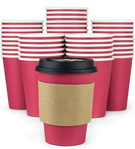 Glowcoast Disposable Coffee Cups With Lids - 12 oz To Go Coffee Cup (110 Pack). Large Travel Cups Hold Shape With Hot and Cold Drinks, No Leaks! Paper Cups with Insulated Sleeves Protect Fingers! (Red Cup Coffee House)