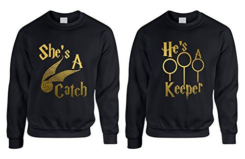 Allntrends Couple Crewneck She's A Catch He's A Keeper Love Gift (Womens XL Mens XL, Black) by Allntrends