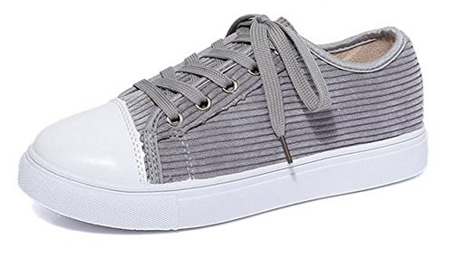 Ein bißchen Damen Studenten zuckerfarbe Sneaker Low Top Schuhe Canvas Textil Grau