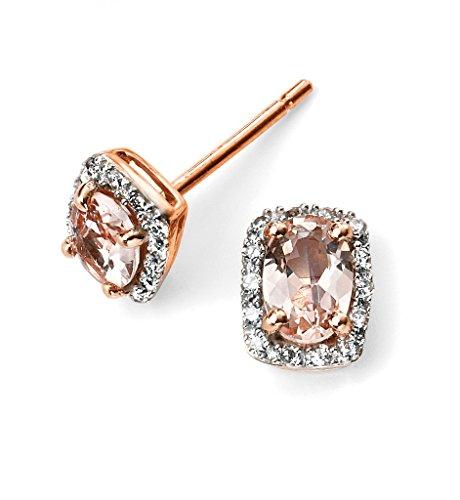 Elements 9ct or or rose diamant et morganite Boucles d'oreilles