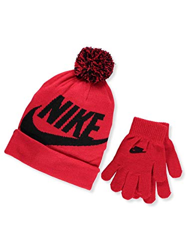 NIKE Boys' Beanie & Gloves Set (Youth One Size) - University red, 8-20 (Nike Hats For Boys)