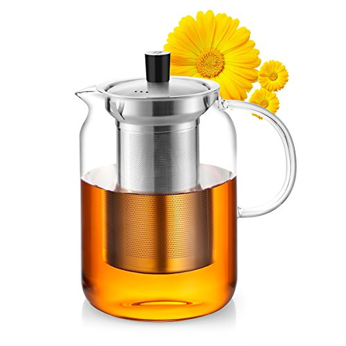 Samadoyo Teapot with Stainless Steel Infuser and lid Glass Water Pitcher 24 OZ