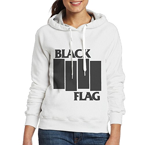 [Black Flag Women's Pullover Hooded Hoodie Sweatshirt White] (Circle Jerk Costume)