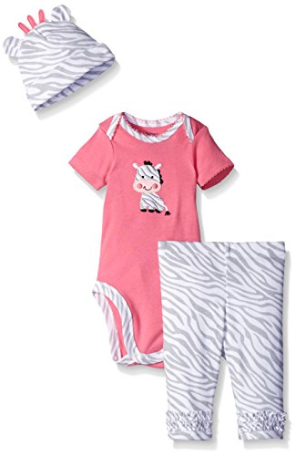 Gerber Baby Three-Piece Bodysuit, Cap, and Legging Set, Zebra, 6-9 Months (Girl Baby Zebra)