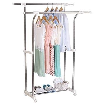 Kleiderständer rollbar Garderobenständer Garderobe Wäscheständer Rollgarderobe