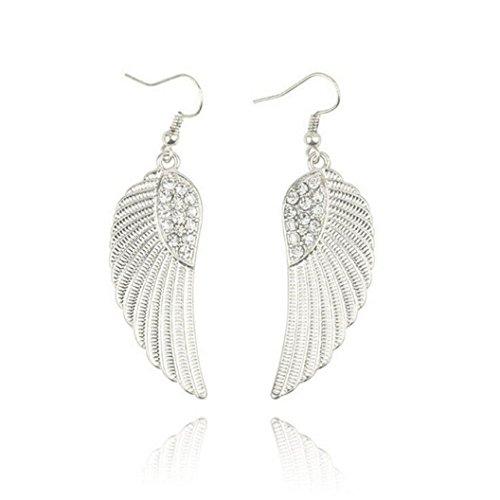 Women Angel Wings Rhinestone Ear Stud Dangle Earrings Jewelry - 2