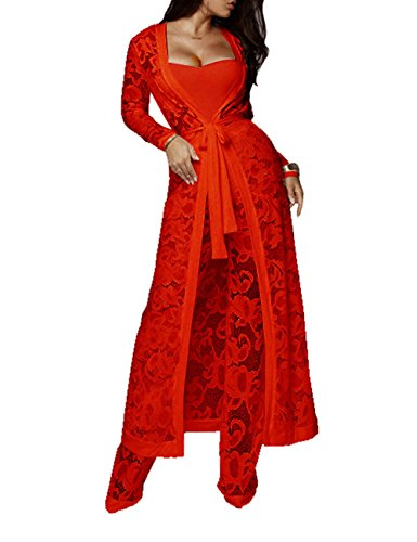 XXXITICAT Women's Sexy Lace Transparent See Through Wide Leg Pants Tube Top Long Coat Sets - Suit Pants Top