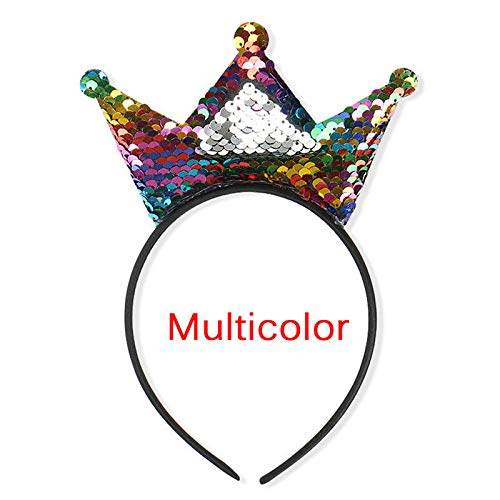 Girls Sequins Crown Hairband Cosplay Headband Women Headwear Party Gift Nice UK (Color - Multicolor) ()