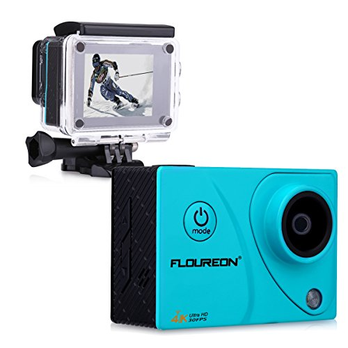 Floureon A3 4K 30FPS 16MP Ultra HD Action Camera H.264 WIFI 2.0 Inch 170° 30M/98FT Waterproof Sports DV Cam (Blue) Floureon