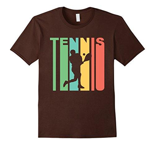 Men's Retro 1970's Style Tennis Player Silhouette Sports T-Shirt Medium Brown